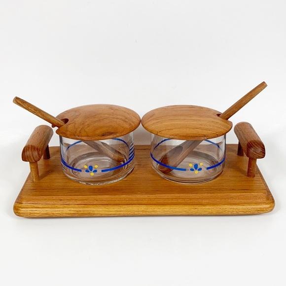 Vintage Other - Vintage Teak Goodwood Condiment Relish Set Tray